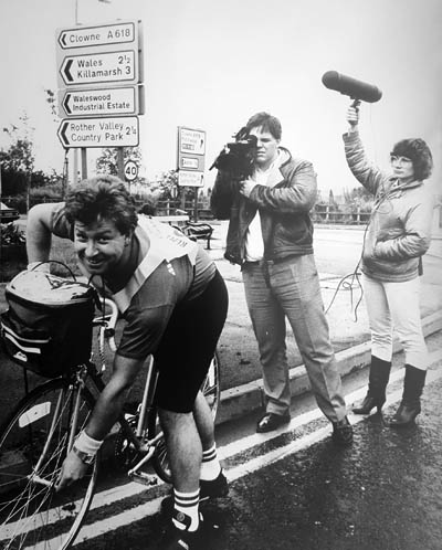 Kevin Cook filming in the 1980s