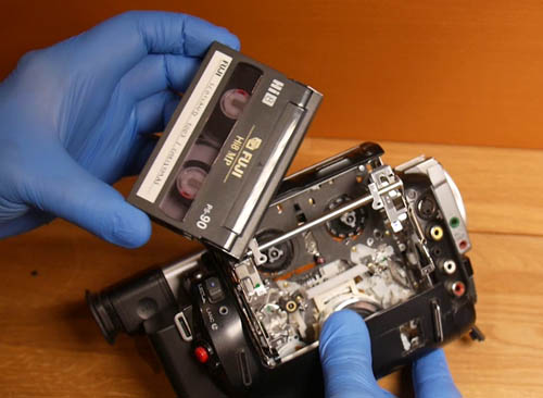 Videotape Repair extracting tape from camcorder