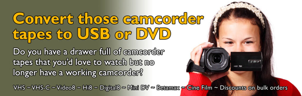 Camcorder tapes to USB or DVD Bulk Discounts